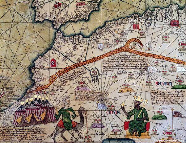l'atlas catalan de Charles V représente le célèbre souverain de l'empire du Mali