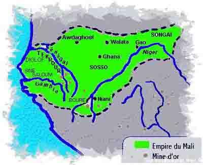 Carte de l'empire du Mali